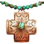Hand Stamped Turquoise Copper Cross Pendant Necklace