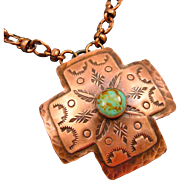 Hand Stamped Turquoise Copper Cross Pendant Necklace With Copper Chain