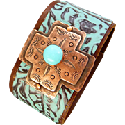 Southwestern Leather And Stamped Copper Cross Bracelet
