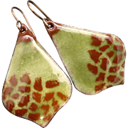 Olive And Brown Enamel Earrings