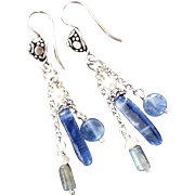 Blue Kyanite Labradorite And Freshwater Pearl Dangle Earrings