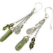 Green Kyanite Moonstone And Peridot Sterling Silver Dangle Earrings