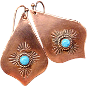 Copper And Denim Lapis Hand Stamped Earrings