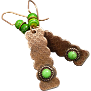 Copper And Green Turquoise textured Earrings