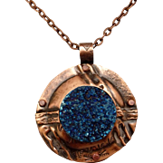 Fold Formed Copper Titanium Quartz Druzy Pendant Necklace