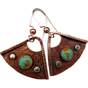 Rustic Copper And Sterling Silver Textured Earrings With An Turquoise Cabochon