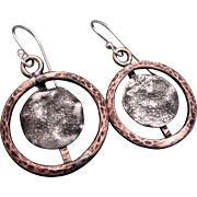 Rustic Copper And Reticulated Silver Textured Earrings