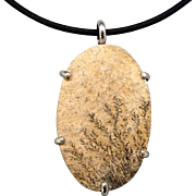 Sterling Silver German Dendritic Opal Pendant Necklace