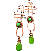 Rustic Copper And Green Turquoise Dangle Earrings