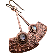 Copper And Moonstone Textured Earrings