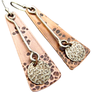 Rustic Copper And Sterling Silver Textured Earrings