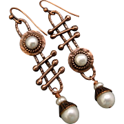 Rustic Copper And Freshwater Pearl Asymmetrical Earrings