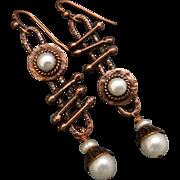 Rustic Copper And Freshwater Pearl Asymmetrical Earrings