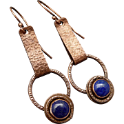 Rustic Copper And Lapis Dangle Earrings