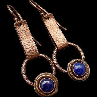 Rustic Copper And Lapis Dangle Earrings