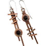 Copper Onyx asymmetrical Earrings