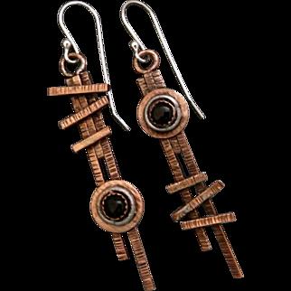 Copper Onyx asymmetrical Earrings