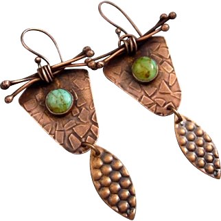 Rustic Copper Textured Earrings With A Turquoise Cabochon