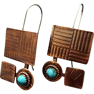 Rustic Copper And Turquoise Geometric Earrings