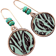 Copper Embossed Leather Earrings