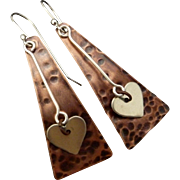 Rustic Copper And Sterling Silver Heart Earrings