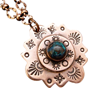 Hand Stamped Copper And Shattuckite Pendant Necklace