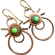 Copper Green Turquoise Earrings