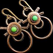 Copper Green Turquoise Earrings