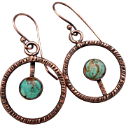 Rustic Copper And Turquoise Textured Asymmetrical Earrings