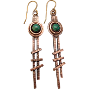 Copper Turquoise Stick Earrings