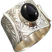 Sterling Silver Black Onyx Adjustable Ring