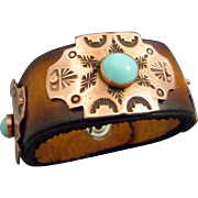 Southwestern Leather And Stamped Copper Turquoise Bracelet