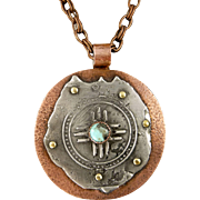 Rustic Mixed Metal Turquoise Pendant Necklace