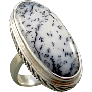 Dendritic Opal Sterling Silver Adjustable Ring