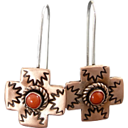 Hand Stamped Copper Red Coral Cross Earrings