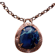 Copper Blue Imperial Jasper Pendant Necklace