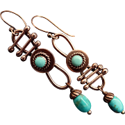 Rustic Copper And Turquoise Dangle Earrings