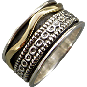 Mixed Metal Sterling Silver Spinner Ring