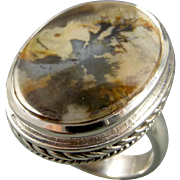Scenic Dendrite Agate Sterling Silver Adjustable Ring
