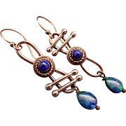 Azurite-Malachite And Lapis Copper Asymmetrical Earrings