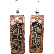 Rustic Silver And Copper Relic Earrings