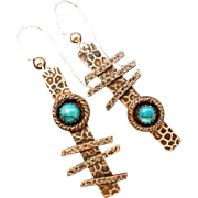 Copper And Turquoise Asymmetrical Earrings