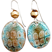 Blue And Brown Textured Enamel Earrings