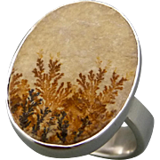 Scenic Dendrite Agate Sterling Silver Ring