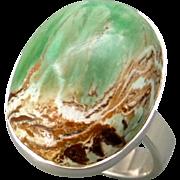 Variscite Sterling Silver Adjustable Ring