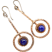 Rustic Copper And Lapis Earrings