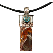 Jasper And Turquoise Mixed Metal Pendant Necklace