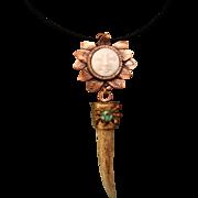 Copper Sun Goddess And Deer Antler Tip Pendant Necklace