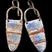 Rustic Blue And Brown Copper Enamel Earrings