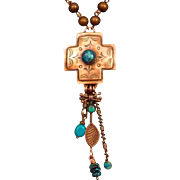 Hand Stamped Copper Cross Shattuckite Pendant Necklace